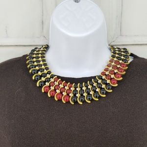 Iman Statement necklace Beads Gold  EUC Burgundy